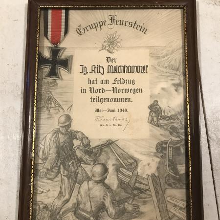 Sollia K.S. Tysk soldat_deltok i kampene ved Narvik_fikk Jernkorset med diplom_foto Jo Øvergaard_rez